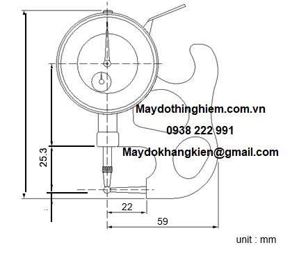 Sơ đồ chi tiết đồng hồ đo độ dày ống TPM-116 Teclock