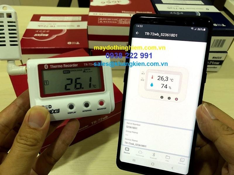 thiết bị kiểm tra nhiệt độ và độ ẩm thông báo qua điện thoại