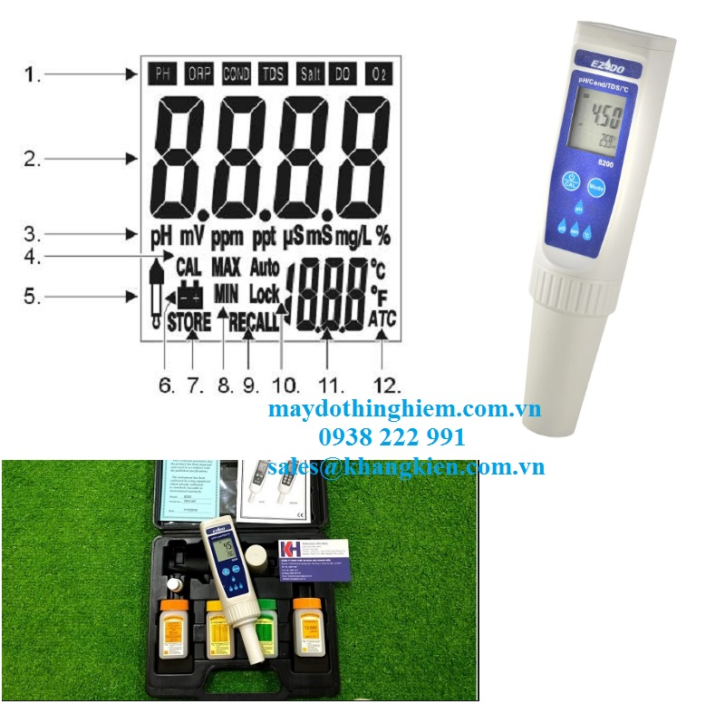 Các kí tự hiển thị trên màng hình của bút đo đa chỉ tiêu Gondo 8200