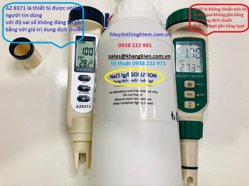 đo 2 thiết bị cùng 1 dung dịch chuẩn 1glL AZ8371 có độ chính xác hơn các thiết bị khác